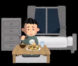 一人暮らしの寂しさ。一人晩ご飯を食べる。