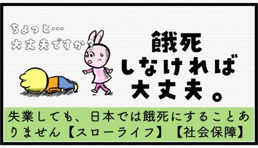 【スローライフ】失業しても、日本では餓死にすることありません【社会保障】